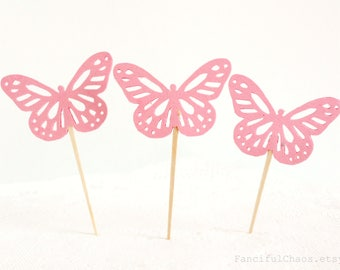 12 Pink Butterfly Cupcake Toppers, Girl Baby Shower, Birthday, Party Decorations