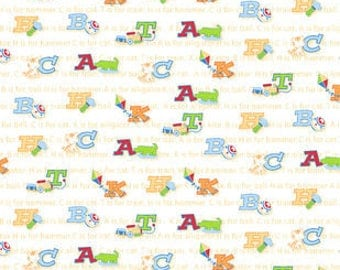 Snuggle Flannel Fabric - ABC Friends - 22 inches