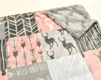 Coral Pink and Grey Deer Baby Girl Blanket. Baby MINKY Blanket, Grey Baby Bedding. Woodland Baby Blanket, Personalized Baby Girl Blanket