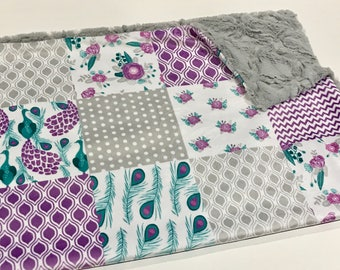 Purple Teal and Grey Peacock Baby Girl Blanket - Minky Baby Blanket, Woodland Baby Blanket, Ready to Ship Baby Blanket, Purple Crib Quilt