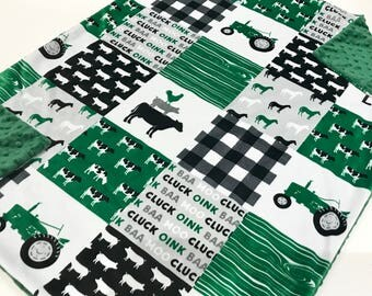 Farm Life Green Tractor Baby Boy Blanket - Minky Baby Blanket, Pig Cow Green Baby Blanket, Ready to Ship Baby Blanket, Baby Shower Gift