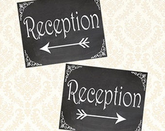 Reception Signs, Printable Chalkboard Wedding Reception Directional Arrows Sign Set, Reception This Way, DIY Yard or Door Sign 8x10