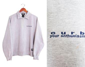 vintage sweatshirt / Curb Your Enthusiasm / Larry David / Curb Your Enthusiasm HBO half zip sweatshirt Large