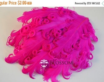 ON SALE 1 Curly Nagorie Feather Pads - Goose Feather Pad - Shocking Pink
