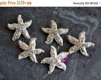 ON SALE Metal Rhinestone Starfish Buttons Crystal Clear with Loop 26mm - Flower Centers - Wedding Bridal Prom - Star Fish Bling Beach Weddin