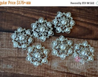 ON SALE WHITE Pearl Rhinestone Metal Embellishments - Crystal Clear 26mm Flower Centers - Wedding Bridal Prom Off White Pearls Supplies