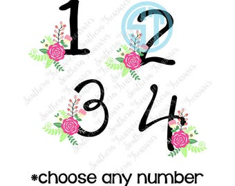 Birthday Number Floral Bouquet Design *You Choose Number* Sublimation Heat Transfer Pre Made DIY Iron On HTV Vinyl You Choose