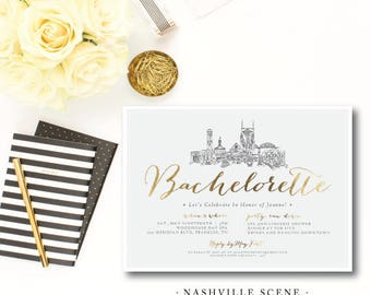 Nashville Scene Bachelorette Invitations