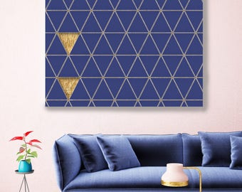 "Gold and Blue 3, Extra Large Industrial Geometrical Blue Gold Canvas Art Print Wall Decor, Modern Wall Art up to 48"" by Irena Orlov"