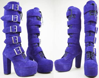 90s Gothic Purple Suede Magic Shoes London Knee High Buckled Platform Boots UK 6 / US 8.5 / EU 39