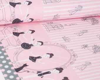Shinzi Katoh | Japanese fabric - kawaii ballerina fabric - oxford cotton - pink - 1/2 YD