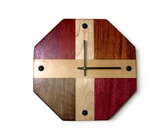 Unique Wood Wall Clock, Exotic Wood Decor, Home Decor, Home and Living, Decor and Housewares