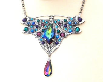 Victorian Dragonfly Necklace Swarovski Crystal Wings Necklace Butterfly Wedding Necklace Rainbow Crystal Statement Necklace Bridal Jewelry