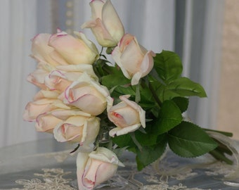 BLUSH Real Touch Rose Bud Wedding Bouquet Simplicity