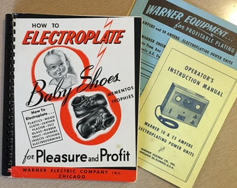 Vintage Book | How to Electroplate Baby Shoes For Pleasure and Profit | Warner Electric 1957 Guide