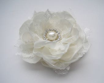 Romantic Ivory Satin Organza and Lace Bridal Flower Hair Clip Bridal Accessories Bride Bridesmaid Prom with Pearl and Rhinestone Accent