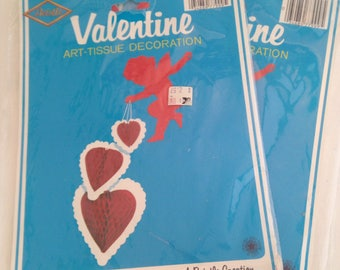 vintage 1979 biestle valentine art tissue decoration, hearts, cupid, set of two, unused, new in package, new old stock