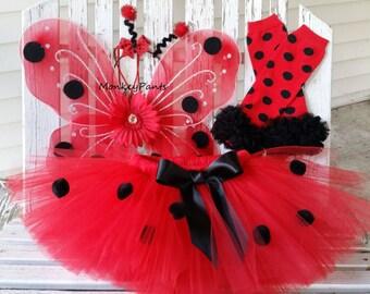 Ladybug Costume - Girl Ladybug Tutu -Girl  Ladybug Halloween Costume - Ladybug Wings - Baby Girl Ladybug Tutu and Accessories