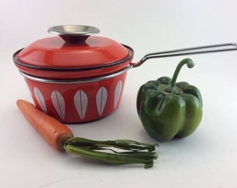 Cathrineholm Saucepan Cathrineholm Norway Lotus Orange Saucepan Small Saucepan Enamel Pan Lidded Saucepan