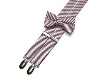 Boys Seersucker Suspenders~Americana Seersucker~Boys Suspenders~Wedding Suspenders~Wedding~Boys Seersucker Bow Tie~Boys Suspender Set