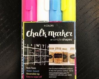 Chalkboard Markers - 4 Color Marker Set - 6mm - by Simple Shapes