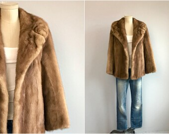 Vintage 50s Mink Fur Coat / 1950s Cocoa Brown Mink Jacket / Swing Coat