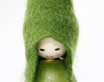 Green Patchwork Heart Cornish Pixie Elf Wooden Decoration