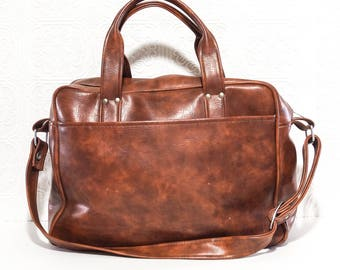 Vintage Faux Leather Overnight Carry All Travel Bag 1960s