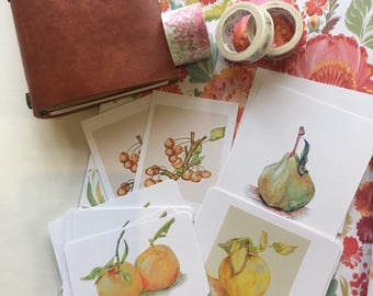 Fruity Vegan Small Notebook Dairy Journal Embellishments Decoration. Mini Art Prints by Paula Kuitenbrouwer. Beautiful Detailed Art.