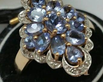 Vintage Unique 10K Yellow Gold Ring: 3.00ctw Genuine Tanzanites & Diamonds