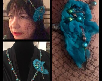 Hand Beaded Corded Necklace/Hair Accessory