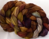 Hand dyed top for spinning -Leprechaun  ( 4.65 oz.) 18.5 mic merino/ camel/ brown alpaca/ mulberry silk/ (40/20/20/20)