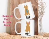 French Bulldog Mr and Mrs Wedding Gift Bride and Groom Unique Engagement Gifts Dog Lovers His and Hers Coffee Mugs Newlyweds or Anniversary