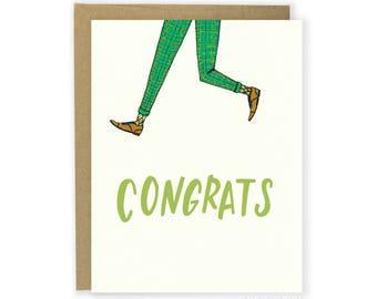 Jump For Joy Congrats Card - Celebration Card, Engagement Card, Good Job, Illustrated Congrats, Congratulations Card, Jumping for Joy, Yay