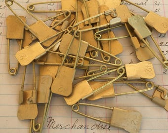 Vintage Brass Laundry pins - Steampunk pendant brass pin - antique numbered safety pins - military numbered laundry pins – brass safety pins