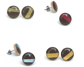 Striped stud earrings summer outdoors hypoallergenic studs post earrings wood earrings starlight woods