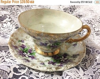 30% Off Clearance Sale Vintage Purple Lilac Teacup and Saucer Set-Gold Trim-Made in Japan
