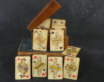 Antique Ferd Piatnik miniature playing cards in original wooden box and tax stamps