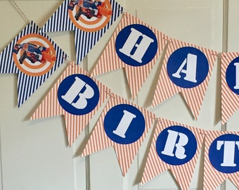 "DART WAR  ""Happy Birthday""  Banner - orange blue - Party Packs Available"