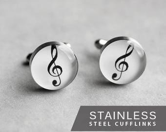 Treble Clef cufflinks, Music cuff links, Stainless steel cufflinks, Musician cufflinks, Wedding cuff links gift for him white cufflinks