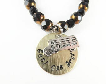 Hand stamped school bus driver bracelet  (small)