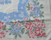 Happy 4th Sale - Cutter 1950s Farmhouse Floral Kitchen  Tablecloth With Red Roses  Shabby Chic