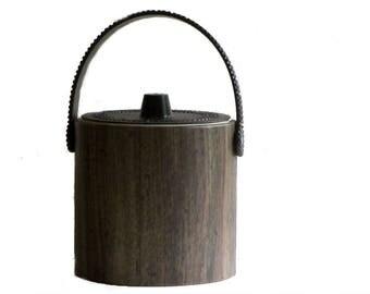 Phoenixware Ice Bucket Greek Key Imitation Wood Grain Mid Century Bar Table Top Buffet