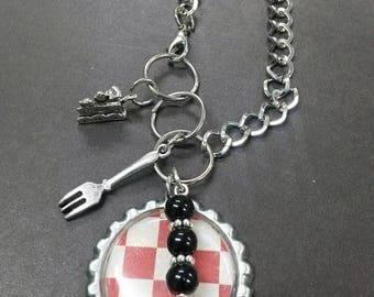 Picnic Lunch Food Pie Fork Pendant Necklace Beaded Charm Glass Silver Lobster Clasp MC21