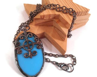 Turquoise Glass Necklace Stained Glass Necklace Turquoise Oval Pendant Glass and Metal Necklace Handmade Necklace Turquoise Jewelry Unique