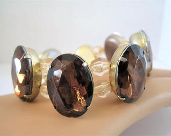 Topaz Cabachon Bracelet - Double Crystal Spacers - Stretch to Fit any wrist