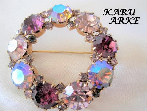 Amethyst Wreath Brooch - AB Rhinestones - Signed Karu Arke - Austrian Crystals - Circle Pin