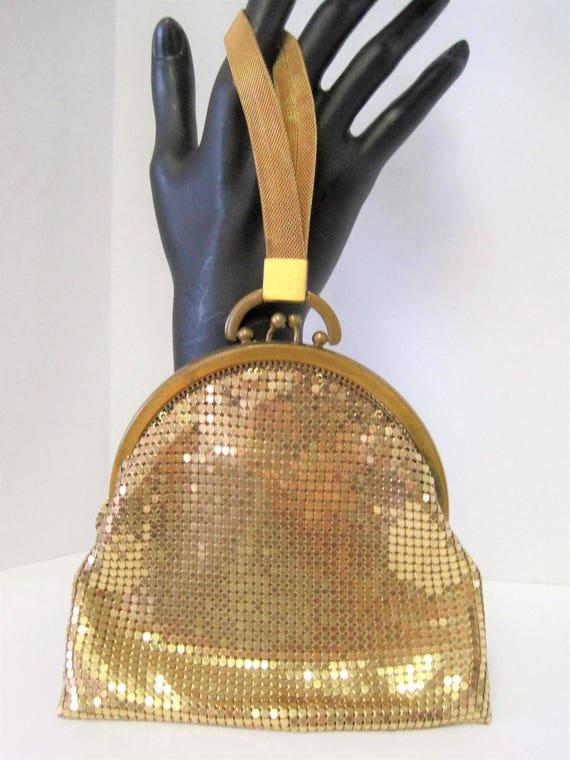 Whiting Davis Gold Purse - Gold Mesh - Vintage Wristlet - Dance Purse