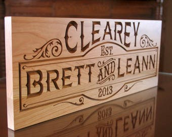 Wedding Date Sign, Custom Wedding Sign, 5yr Anniversary Gift, Parents Anniversary Gift, Benchmark Signs, Cherry SB