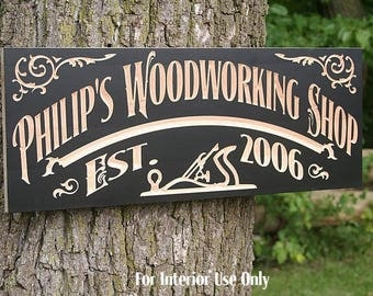 Custom Workshop Sign, Personalized Man Cave Sign, Gift for Him, Benchmark Custom Signs, Maple WS